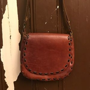 Leather Tan Retro Hippie Style Shoulder Purse